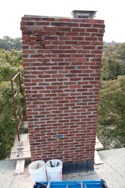 Brick Chimney Restoration In Historic District Of Salem Ma