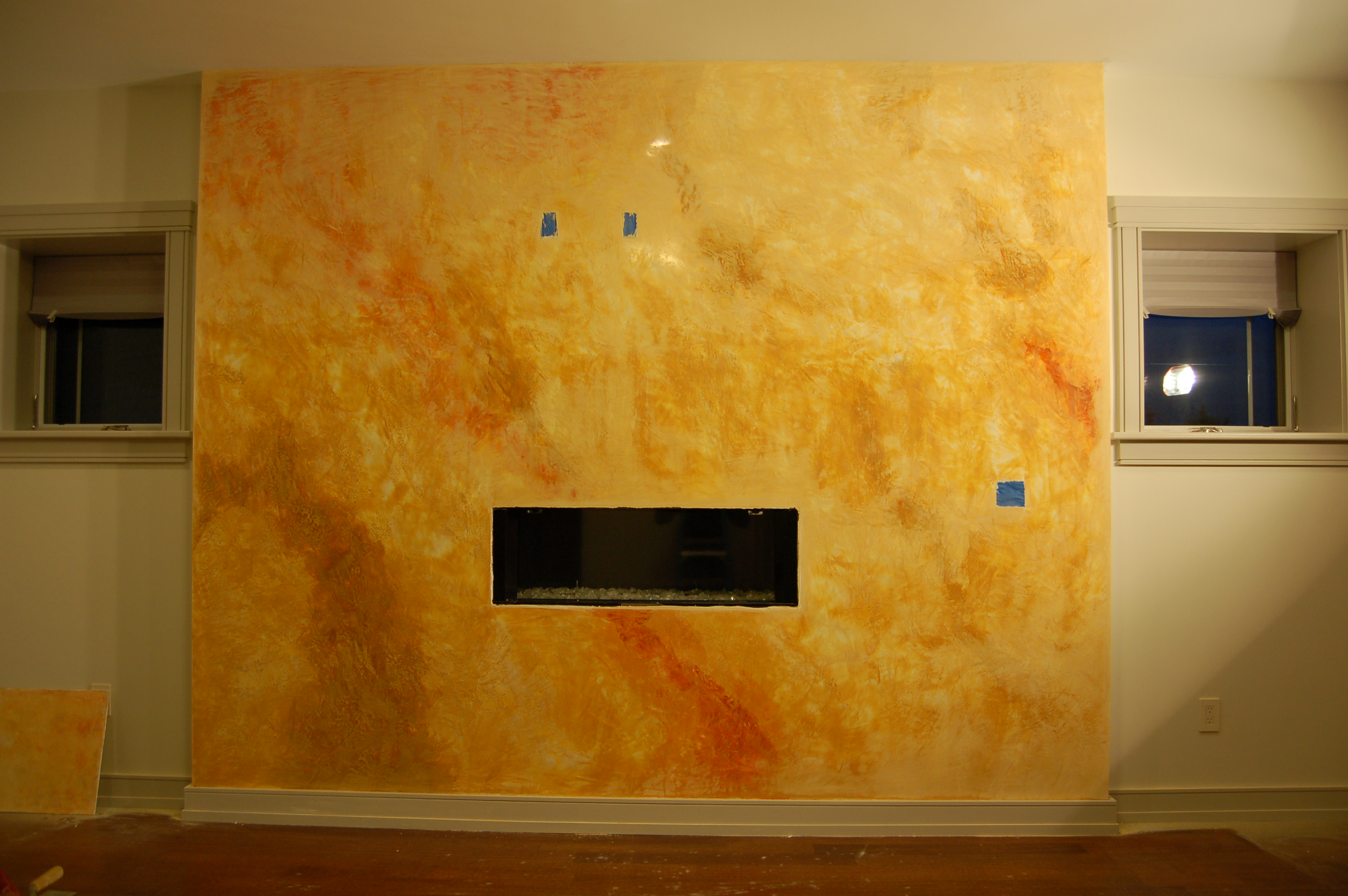 Venetian Plaster Fireplace in Milton, MA. | Decorative walls